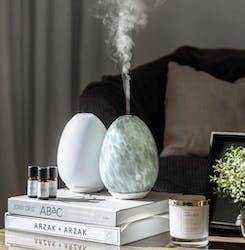 Aroma Diffuser - Vit / Marmor Grå & 3 Doftoljor |Paketpris